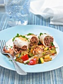 Stuffed squid with pan-fried vegetables