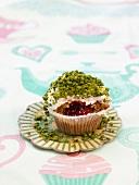 Pistachio-raspberry cupcake