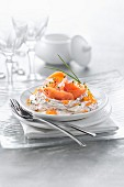 Cream cheese with chives and smoked salmon