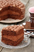 Chocolate cake decorated with chocolate balls