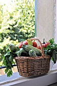 Basket of vegetables outdoors