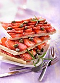 Strawberry and pistachio fine pastry slices of tart