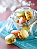 Different colored macaroons with Pralinoise Poulain Dessert cream filling