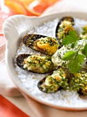 Mussels grilled with parsley