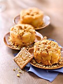 Caramelized apple-pear and crushed Breton shortbread Lu biscuit Timbale
