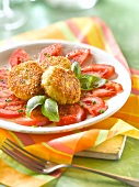 Quinoa,parmesan and basil Croquettes with tomato salad