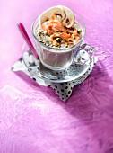 Button mushroom cappuccino, Pancetta chips