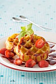 Mini waffles with strawberry puree