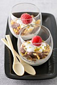 Yoghurt mousse with pistachios and two types of cereals