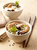 Shrimp,noodle and black mushroom soup