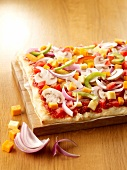 Raw vegetable pizza