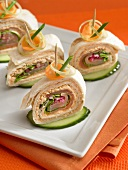 Rolled salmon appetizers