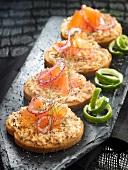 Salmon paté and smoked salmon toasts