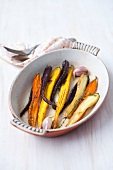 Different colored roasted carrots