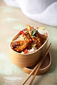 Caramelized chicken with sesame seeds with basmati rice