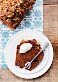 Slice of toffee and dried fruit cake