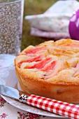 Flat peach moist cake