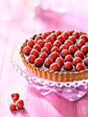 Chocolate-raspberry tart