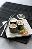 Princesse Amandine potato and marinated Dublin Bay prawn makis