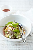 Beef and red mustard salad
