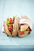 Roasted pork and tomato sandwiches