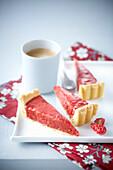 Slices of pink praline tart