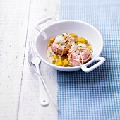 Monkfish Paupiettes with mango and coconut milk