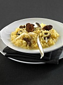 Saffron-flavored risotto with morels