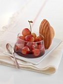 Sauteed cherries in Kirsch with a Madeleine