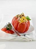 Coeur de boeuf tomato stuffed with tarragon, tuna Ventrèche, egg mimosa and pesto