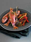 Grilled red mullets with express ratatouille
