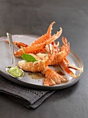 Quicky pan-fried Dublin Bay prawns,basil mayonnaise