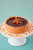Chocolate and crystallized orange rind tartlet