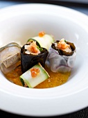 Monkfish liver and turbot fresh wakme seaweed rolls