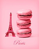 Composition with a mini Eiffel Tower and pink macaroons