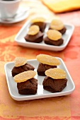 Squares of soft chocolate cake topped with crystallized ginger
