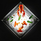 Crayfish with drops of olive oil