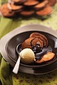 Chocolate pancakes with vanilla ice cream