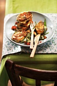Mini pancakes with broccolis, tomatoes and peppers