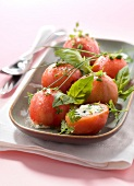 Tomatoes stuffed with goat's cheese,herbs and olive oil