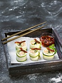 Zucchini and crab Makis with Chimichuri sauce