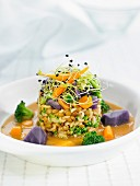 Pasta, lentil, pumpkin, puple potao and sprout Timbale