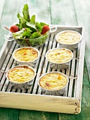 Small mozzarella, sweet corn and leek gratins