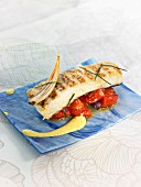 Grilled cod with simmered tomatoes