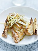 Roasted chicken and celeriac with thinly sliced green apple and Espelette pepper