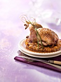 Quail roasted with Port and raisins
