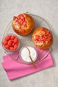 Small pink praline brioche buns