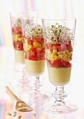 Cream of sweetcorn with diced tomatoes and sprouts