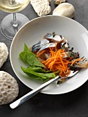 Mackerel and grated carrot salad with honey