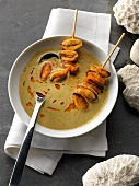 Cream of Paimpol haricot bean soup with paprika mussel brochettes